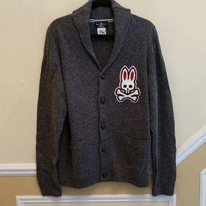 Psycho Bunny Barnes Shawl Neck Wool Grey Cardigan